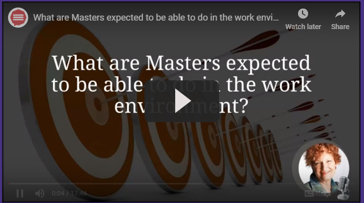 What are Masters expected to be able to do in the work environment